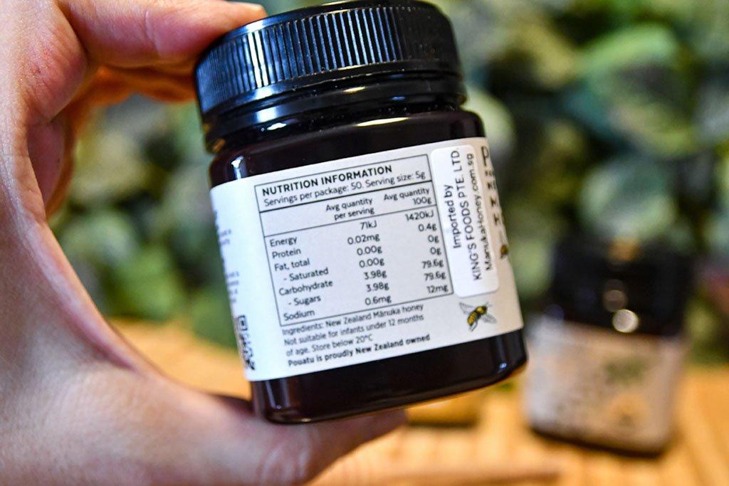 Pouatu Manuka UMF 15+ Nutrition Table.