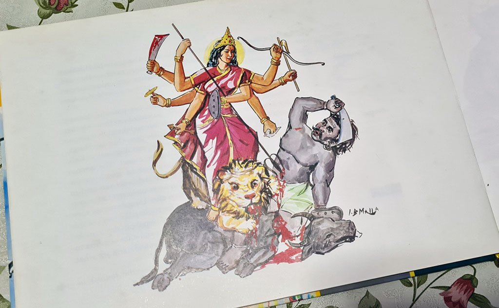 Durga slaying Mahishasura.
