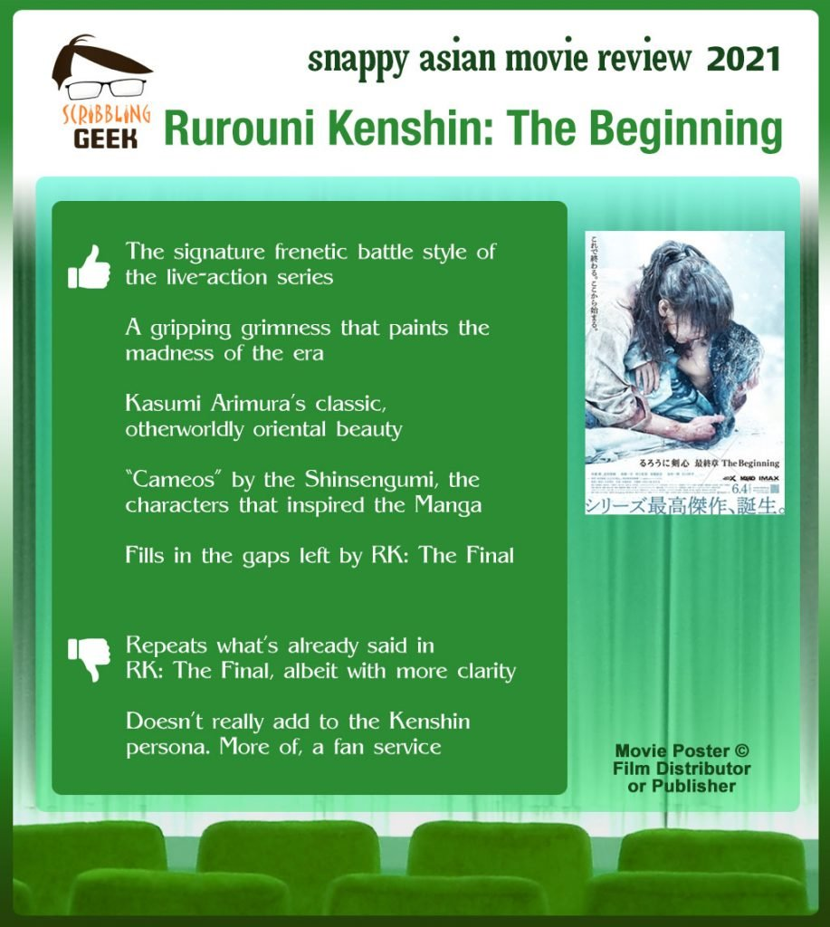 Rurouni Kenshin: The Beginning (るろうに剣心 最終章 The Beginning) Movie Review: 5 thumbs-up and 2 thumbs-down.