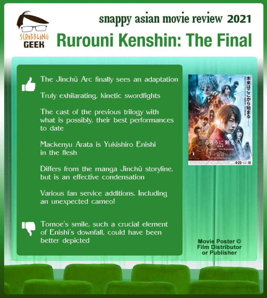 Rurouni Kenshin: The Final (るろうに剣心 最終章 The Final) Movie Review: 6 thumbs-up and 1 thumbs-down.