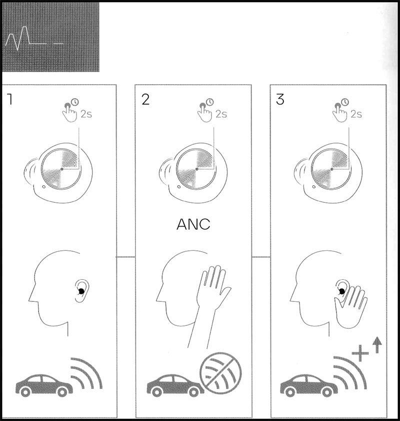 Sudio T2 Active Noise Cancelling Controls.